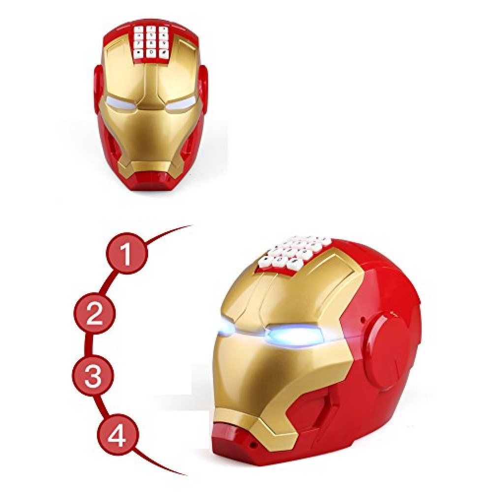 Iron Man Automatic Open Door Motor ATM Head Piggy Bank with Lights in Eyes