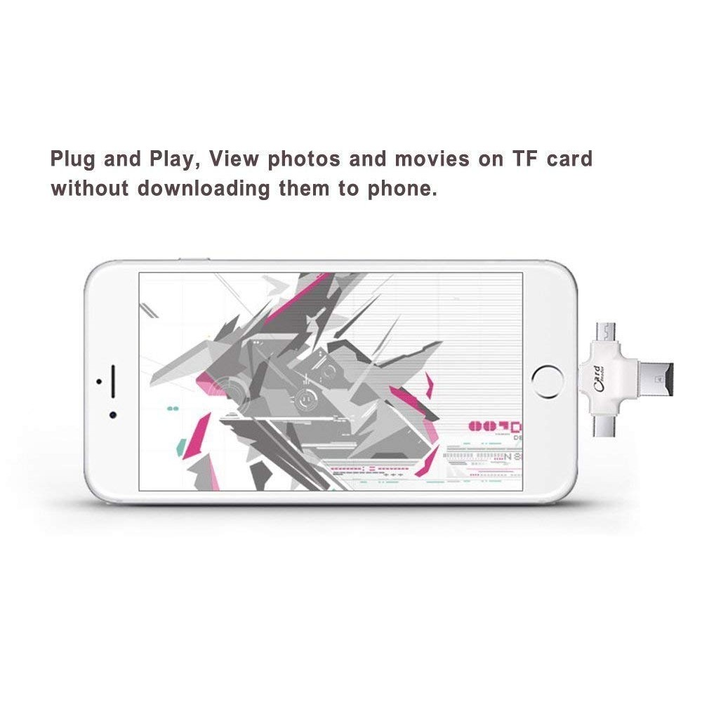 New 4 in 1 OTG Card Reader 4 Ports : Lightning + Type C + USB Card Reader + Micro USB – Idisk for iPhone,Like Iflash, SDHC Lightning Flash Drive, Ipad, Micro USB