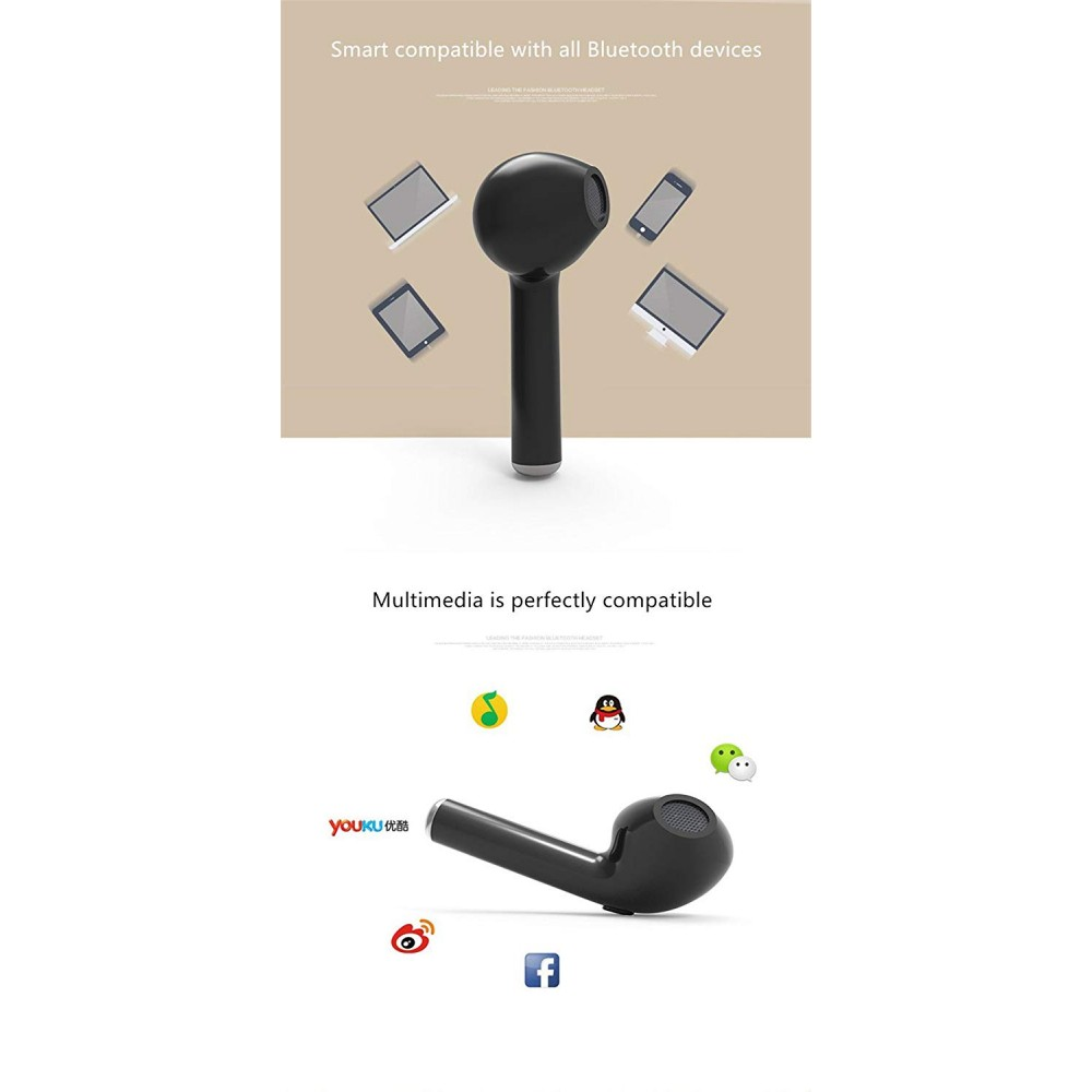 Wireless i7 Bluetooth handsfree Headset Single Ear Earphone with inbuilt Rechargeable Battery and Calling Functions